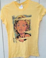 Marilyn Monroe Poster Women's Baby Doll Tee Shirt Size Small Color Yellow