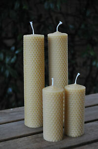 Handmade-Rolled-Beeswax-Candles-2-tall-and-2-medium-pillar-candles-great-gift