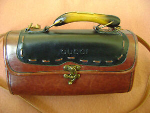 Details About Vintage Ad 231 Gucci Brown Leather Shoulder Bag Handbag Purse Wwooden Handle