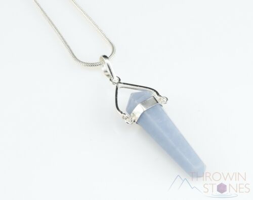 ANGELITE Healing Crystal Point Pendant Bridesmaid Gift E0917 Raw Stone Jewelry