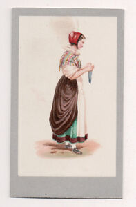 Vintage-CDV-Handpainted-SCHLESTADT-Alsac-Germany-Traditional-National-Costume