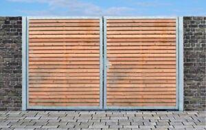 Einfahrtstor Qs Tor Verzinkt mit Pfosten & Holzfüllung 2-flügelig 400cm x 180cm