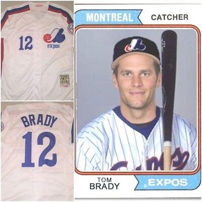 VERY RARE Tom Brady #12 Montreal Expos Replica Baseball Jersey White Mens MEDIUM | eBay