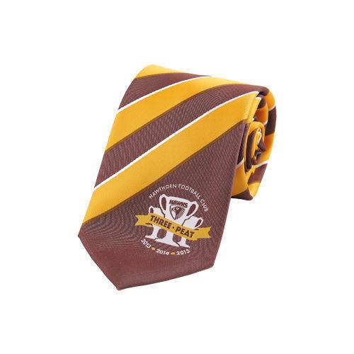 AFL Footy Hawthorn Hawks 2015 Premiers Premiership Three Peat Stripe Tie BNWT