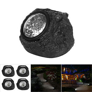 4pcs solar powered rock lights outdoor path garden walkway landscape image is loading 4pcs solar powered rock lights outdoor path garden mozeypictures Image collections