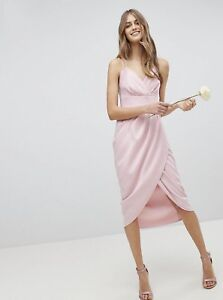 Ted-Baker-ELYANA-Ruched-midi-dress-RRP-179-Size-3-UK-12-Drape-Wrap-Skirt-Pink