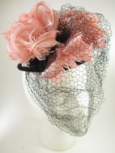 Vintage 50's 60's Pink Feather Halo Hat Fascinator