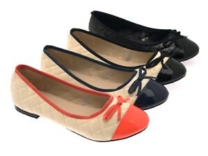 WOMENS-QUILTED-BOW-PATENT-TOE-BALLET-PUMPS-MULES-SHOES-BLACK-BEIGE-LADIES-SZ-3-8