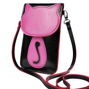 Image Is Loading Women Messenger Bag Lovely Umbrella Cat Leather Small