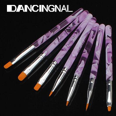 7pcs UV Gel Acrylic Nail Art Design Builder Salon DIY Brush Pen Set marble