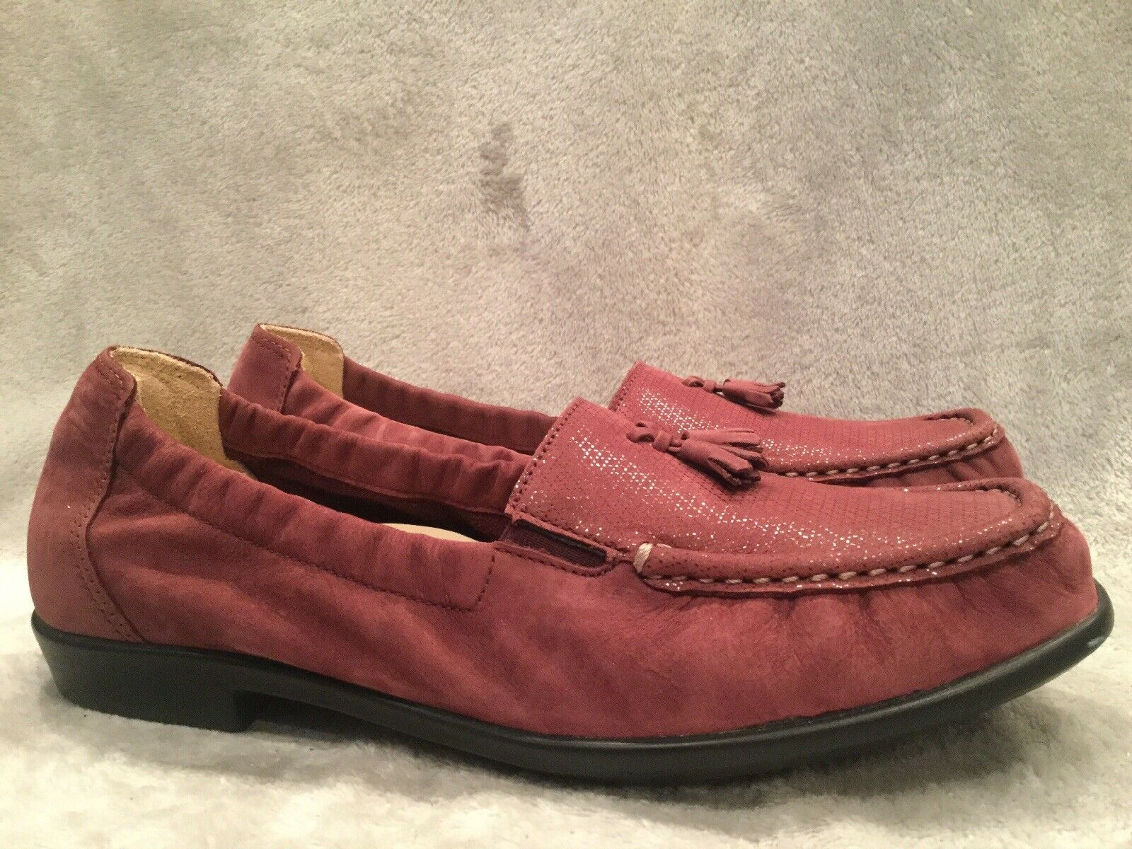 SAS Hope Wine Suede Tassle Loafers Casual Comfort shoes Womens Size 8 Wide