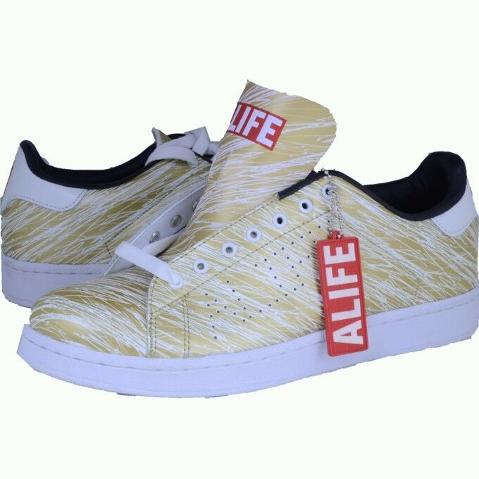ALIFE Scribble Cup Barneys gold white sneakers athletic shoes sz 11 new