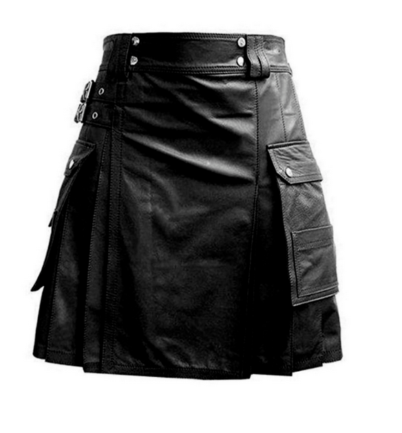 Men's Leather Black Utility Kilt Twin CARGO Pockets Pleated with Twin Buckles