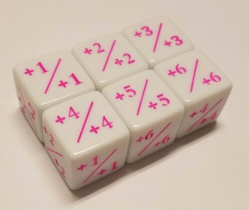 6x Counter Dice PINK Ink +1+1 to +6+6 for Magic The Gathering CCG MTG