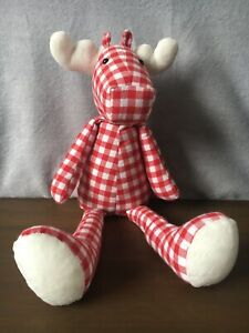 The-Little-White-Company-Gingham-White-amp-Red-Moose-Soft-Plush-Toy-Christmas-Gift