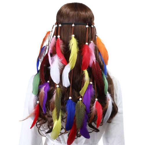 Womens Indian Hippie Feather Headband Tribal Hairband Festival Headdress Cosplay