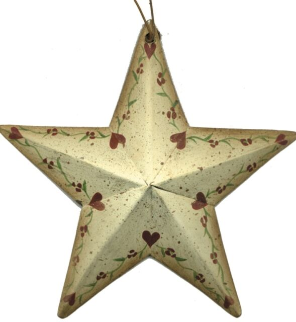 Rustic Country Metal Barn STAR heart floral vines Sign Vintage wall stars Decor