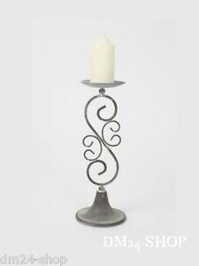 Kerzenleuchter-Kerzenstaender-Landhaus-Metall-grau