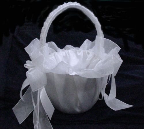 """9/"""" Height White Flower Girl Basket With Lace For Wedding.Available Ivory"""