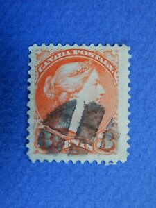 """#37 used 3c orange red Queen Victoria """"Small Queen Issue"""" with fancy bold cancel"""