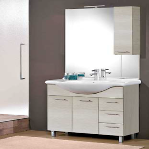 Dettagli su Composizione mobili bagno moderno Gaia 85 Savini olmo bianco