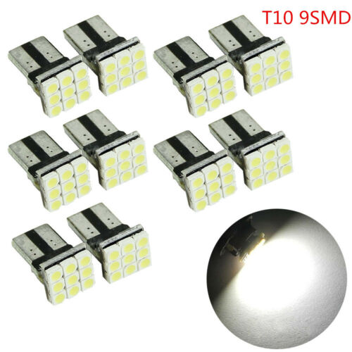 10X T10 LED 9SMD White Car License Plate Light Tail Bulb 2825 192 194 168 5W New