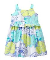 Gymboree Girls Tide Pool Aqua Floral Dress Flowers 12-18 M