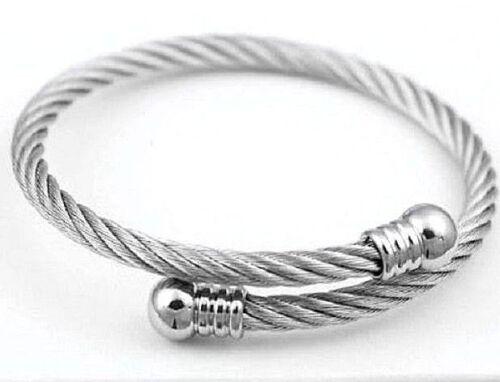 Herren Damen Edelstahl Silber Gedreht Kabel Adj Armspange Schmuck Armband