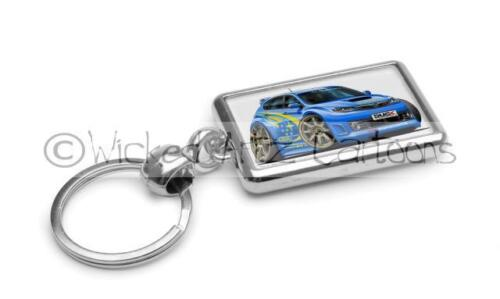 RetroArtz Cartoon Car Subaru Impreza 2008 WRC Rally Blue Premium Metal Key Ring