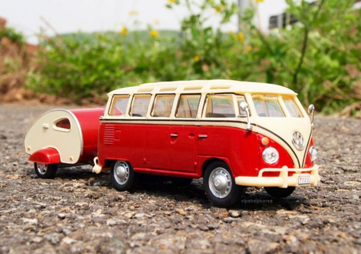 Volkswagen Samba Bus with Caravan Set (1 43) Miniature die cast metal SAMBA BUS