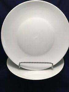 Set Of 2 WHITE BIA Cordon Bleu Bistro Dinner Plates PRISTINE