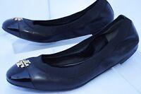 Tory Burch Jolie Shoes Ballet Flats Black Size 9.5 Slip Ons Leather