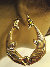 OLD SCHOOL DOLPHIN KISSING HOOP EARRINGS GOLD TONE 2 IN W AND 2.5 IN L