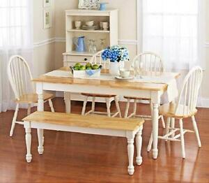 Enjoyable Details About 6 Piece Farmhouse Dining Kitchen Set Table Bench 4 Windsor Chairs White Natural Bralicious Painted Fabric Chair Ideas Braliciousco