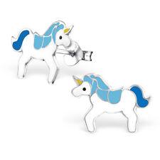 925 Sterling Silver Blue & White Magical Unicorn Kawaii Stud Earrings