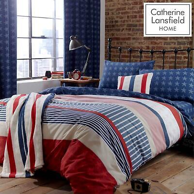 Catherine Lansfield Stars Stripes, Catherine Lansfield Blue Newquay Stripe Bedding Set Double