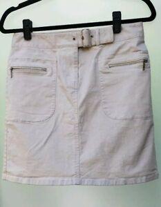 ANN-TAYLOR-Loft-Khaki-Beige-Front-amp-Back-Zipper-Pockets-Belted-Pencil-Skirt-6P