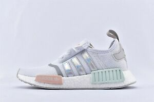 Details about Adidas NMD R1 White Iridescent Hologram Silver MultiColor Mint Pink Women's 8.5