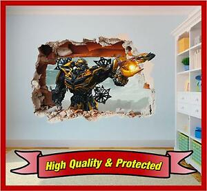 Details about Transformers Bumblebee Hole in Wall - 3D Printed Vinyl  Sticker Decal Childrens