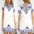 UK 8-24 Vintage Women Floral Tops Blouse T Shirt Tunic Shift Casual Mini Dress