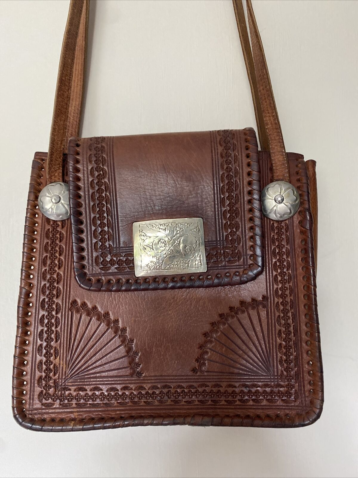 Tan Leather Boho Look Handbag