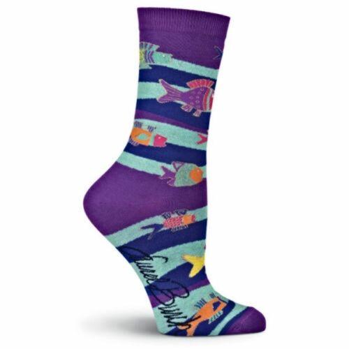 Swimming Fish K Bell Crew Socks New Women/'s Size 9-11 L Burch Colorful Fashion