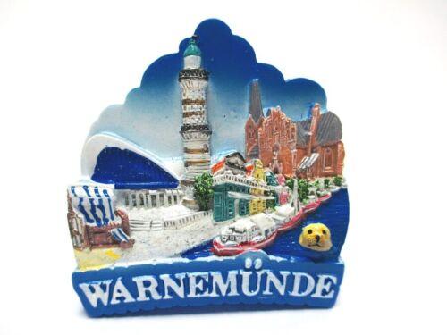 Warnemünde Magnet Ostsee Poly Glanzlack Souvenir Germany (810)