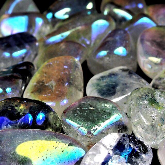 1 kg Aqua Aura Bergkristall Trommelsteine Ø 25 - 40 mm A - Qualität Angel Glow
