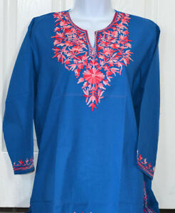 Pink-Embroidered-Blue-Color-Cotton-Tunic-Top-Kurti-Blouse-from-India