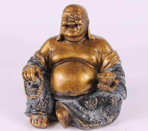 Chinese Laughing Buddha 13cm High Indoor Ornament 2 Colour Options Available