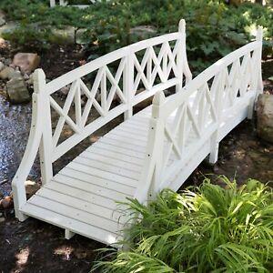 Phenomenal Details About White 8 Ft Slat Wood Garden Bridge Outdoor Home Furniture Garden Backyard Customarchery Wood Chair Design Ideas Customarcherynet
