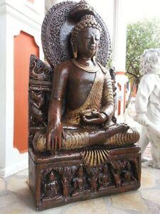 Gartenfiguren, Feng Shui, Asien, Buddha 94 cm Skulptur Steinguss ...