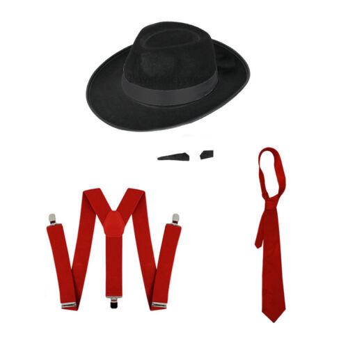 NERO Gangster Cappello nero fascia cravatta rosso /& controventi e spiv Tash Set Fancy Dress