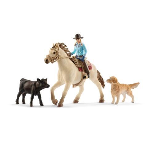 mucca SCHLEICH 42419 Farm World western equitazione cane grande cavallerizza cavallo